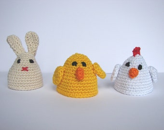 Egg cozy crochet pattern | tutorial amigurumi animal | chicken, bunny & chick egg warmer pattern | egg hat | Easter decoration | Easter gift