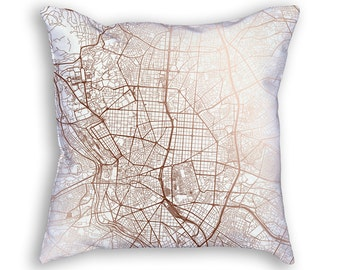 Madrid Spain Street Map Throw Pillow