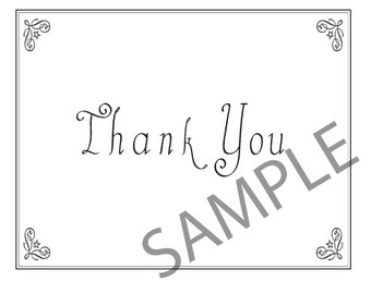 Thank You Cards, Corner Flourishs, Instant Digital Download Package includes 6 options in 4 file