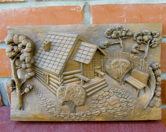 Russian Banya carved wooden panel, artistic wood carving, handmade, wooden picture
