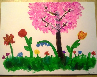 Tree and Flowers - Acrylic Painting