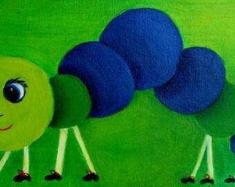 Caterpillar Oil Painting - Hungry Caterpillar - Children's Art - Animal Art - Nursery Painting - Green Caterpillar - Shower Gift - Baby Gift