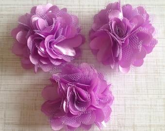 "Mini Satin and Tulle Puffs, 2"" Satin Mesh Flower, Lavender Satin Flower, Wholesale Flower, Boutique Supplies, DIY Headband"