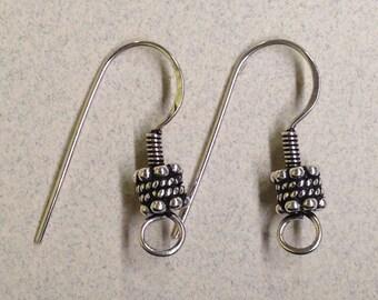 Sterling Silver Bali Style Ear Wire FND-10