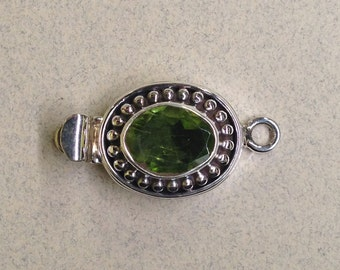 Sterling Silver Single Strand Box Clasp With Oval Peridot FND-50