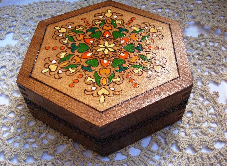 Vintage handmade hexagonal wooden jewelry box pyrography for Handmade wooden jewelry box