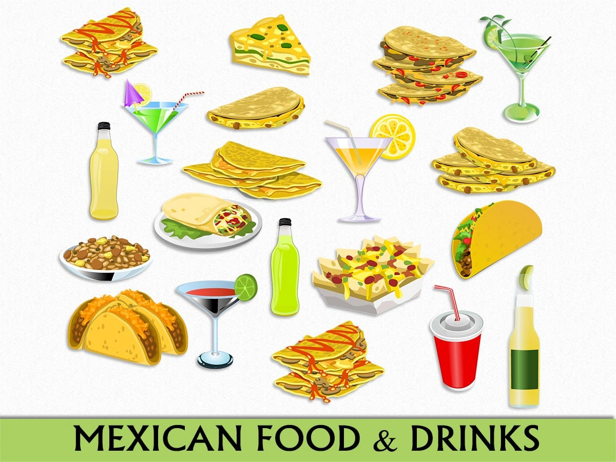 mexican food clipart clip drinks mexico graphic margarita taco drawings cliparts scrapbook vector transparent digital authentic commercial deer gardening flowers