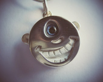 Happy Adorb One Eyed Smiley Face with Big Grin Teeth and Glass Eye