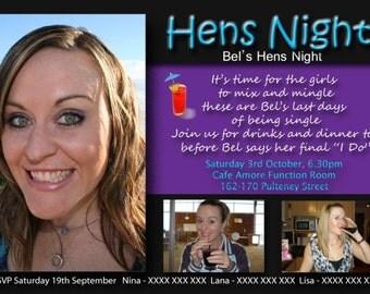 Bachelorette invitations, Hens Night Invitations, hens party, girls night out, girls night invitation, Bachelorette party, photo hens invite