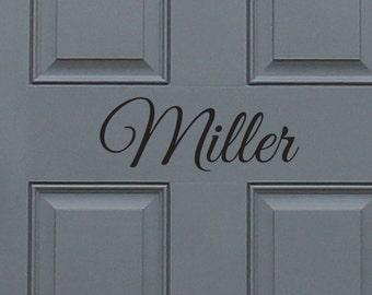 Custom Last Name Front Door Vinyl Decal, home decor