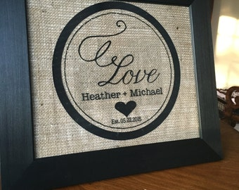 Framed Burlap with Vinyl Monogram