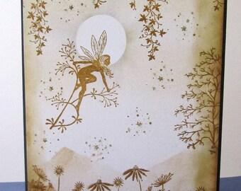 Handmade Woodland Fairysparkled Fairy Faerie Silhouette Card