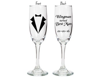 Best Man personalized champagne flute - Wingman turned Best Man - double sided glass with wedding date