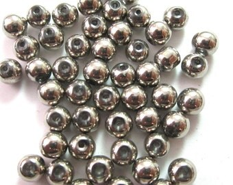 Silver Colored Metal Look Glass Round Ball Beads 5mm (60)