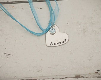 Beautiful heart shaped charm with hand stamped name and birthstone