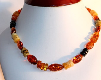 Baltic amber necklace, Multicolor necklace, Amber jewelry, Handmade necklace, natural amber, knotted necklace,  elegant necklace, gift idea