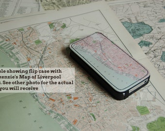1890 map of Liverpool (South) -  faux leather iPhone flip case