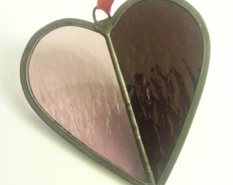 Purple Stained Glass Heart Suncatcher, Wedding Heart, Purple Heart