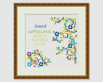 Cross stitch pattern- decor newborn - birth sign new baby- gift personalized birth - stats baby name- birth date- Instant download- PDF