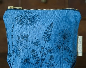 Linen Cosmetic Bag, Make Up Bag with Waterproof Lining and Brass Zipper from The Garden Collection