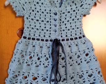 Blue wool dress for girls