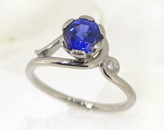 Blue Sapphire Ring with Diamond Accent - 18k Gold - Fair Trade & Eco Friendly - Natural or Chatham Sapphire - Handmade to Size