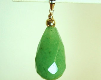 14K solid yellow gold teardrop 20x12mm faceted authentic Jade  (Nephite) gorgeous pendant
