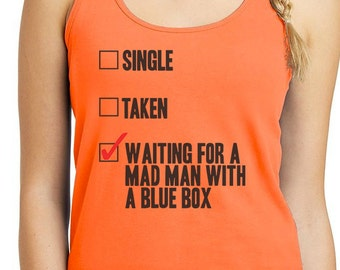 DOCTOR WHO Matt Smith David Tennant Tank Top Women and Men Waiting for a Mad Man in a Blue Box