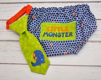 Little Lil Monster Little Guy Tie and Diaper Cover in Blue, Orange, Lime Green  - Little Monster Birthday Party Cake Smash Outfit