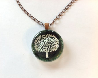 White Tree, Glass Pendant Necklace, Altered Art