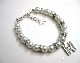 Personalized pearl and rhinestone bracelet