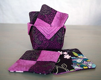 Handmade quilted bakset with matching coasters