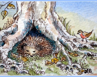 Hedgehog's quiet nap.Aceo print from my original watercolour illustration.