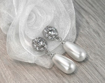 ANNA bridal earrings with cubic zirconia rhinestones and ivory or white Swarovski pearls, drop earrings