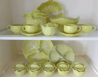 """Hollywood Regency Yellow Cabbage Dinnerware Made In """"Portugal"""""""