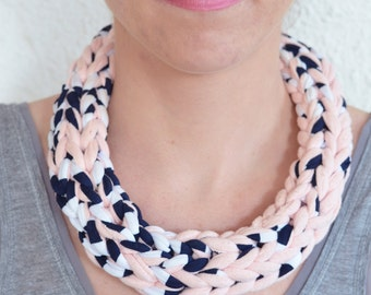 Braided necklace, pink powder and printed blue-white - hand made