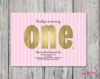 Birthday party invitation girl one year pink and gold DIGITAL FILE