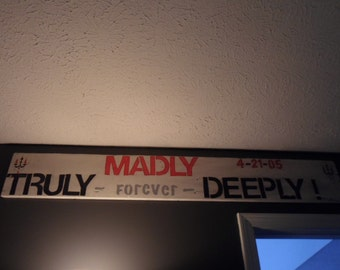 Above the Bed Sign, Wall Decor, Personalized, Bedroom Decor, Signs, Anniversary Date, Truly Madly Deeply, Song Lyric Decor, Wood Signs