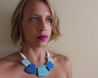 Bold Statement Necklace Glamour Magazine Handmade Beaded Blue with Paper Mache Bead
