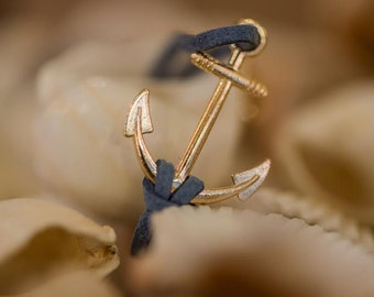 Blue leather gentle rope bracelet, Gold plated anchor