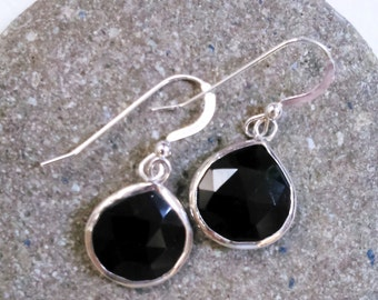 Black Onyx Earrings, Onyx Drop Earrings, Onyx Dangle Earrings, Black Earrings, Teardrop earrings
