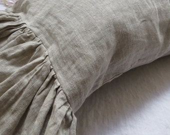 Pair of natural linen pillow shams with ruffle