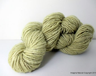 Organic Natural Fennel Colour, Hand Spun, Pure Handmade Wool, Non Toxic, Hand Painted, Non intensively Farmed. Natural Green Plant Colour