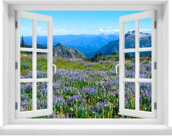Window with a View Mountain with Field of Flowers Wall Mural
