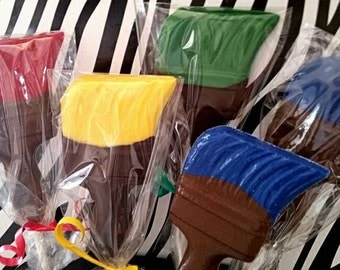24 paint brush chocolate suckers Art party favors painting with a twist sip and paint