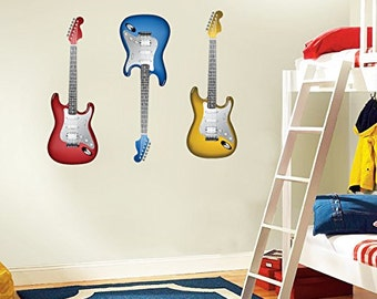 Electric Guitars Set of 3 Rock Music Wall Decal