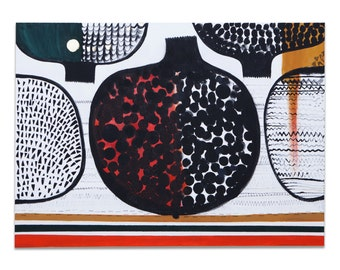 Graphical acrylic painting pomegranate 140x100cm