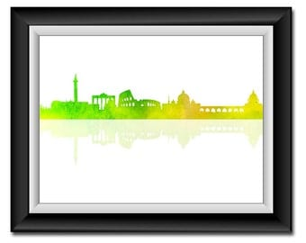 Rome Skyline Italy City Lime Green Yellow Watercolor Cityscape Poster Print Modern Abstract Landscape Art Painting