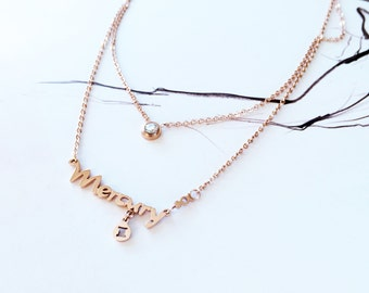 Double Layer Gemini Necklace Horoscope Mercury Diamond Necklace 18K Rose Gold Necklace Charm Necklace Star Sign Necklace Birthday Pendant