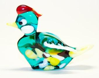 Glass figurine Duck green handmade #450